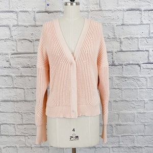 J.Crew Point Sur Ribbed Cardigan in Subtle Pink